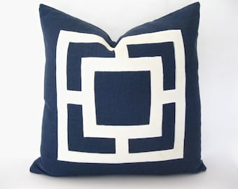 Navy Blue and White Pillow Cover - Navy Linen Pillow Cover with White Applique