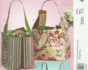 MCCALLS PATTERN M6297, market tote, bag, satchel, lunch bag, new and uncut