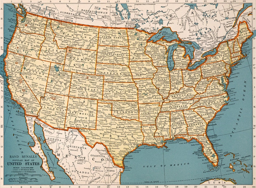 Old Map Of United States Of America Map Digital Vintage Art - How old is the united states of america