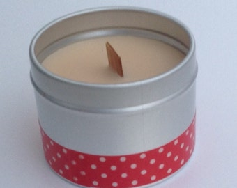 Outdoor citronella candles - handmade citronella scented candles in lovely silver tins with clear lids.