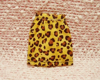 Handmade Barbie clothes - Leopard print Mini Skirt.  (Skirt Only)