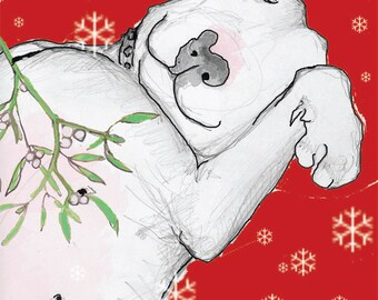 English Bull Terrier Christmas Kiss Card Set