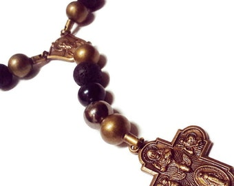 Mens Rosary Necklace - Mens Beaded Necklace - Black Catholic Rosary - Mens Cross Necklace - Catholic Rosaries for Men