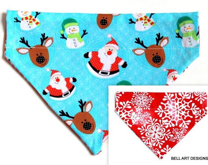 DOG BANDANA ~ Over the Collar ~ Reversible ~ Christmas ~ Santa ~ Bell Art Designs ~ Medium ~ DCM0544