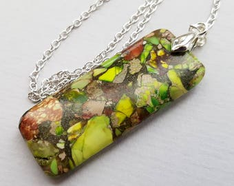 Lime Green Jasper Necklace, Jasper Bar Necklace, Geometric Necklace, Marbled Stone Necklace, Silver Chain