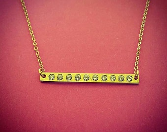 Mother Necklace Gold Plated Bar Necklace Birthstone Necklace Bar Pendant Ivanka Trump Bar Plate Necklace