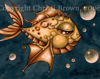 Steampunk Fish painting in watercolor matted art print
