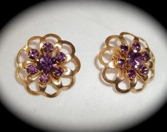 Vintage Amethyst Rhinestone Clip Back Earrings