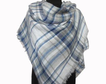 Blue Plaid Scarf, Christmas Gifts for Mom, Checkered Blanket Scarf, Mom Gift, Autumn Scarf, Blue Wrap Shawl, Plaid Fall Scarf