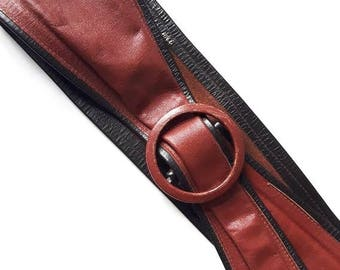 Vintage 80s Bourbon Leather Belt