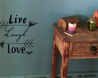 """Wall decal """"live laugh love"""" with arrows and heart, home decor, wall decor, vinyl decal INDOOR"""
