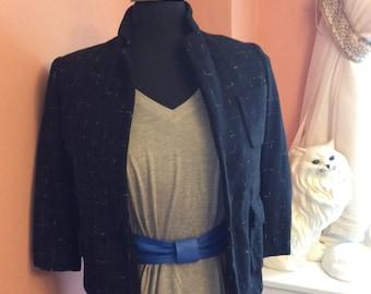 Vintage 60s Jacket, Handmade Wool Blazer, Cropped Jacket, XS (A196)