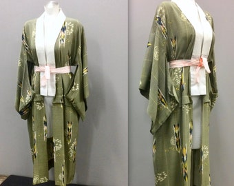 Green Kimono with Feather Print and Attached Sash - Boho Kimono, Feather Print Dressing Gown