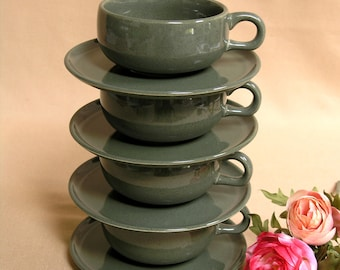 Mid-Century Russel Wright Teacups and Saucers / Set of 4 / by Steubenville Pottery USA / Cedar Green Pattern