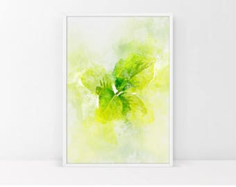 Watercolor Leaves    Printable Watercolor Art   Leaves Print   Leaves Decor Art Print   Botanical Art   Green Leaves   INSTANT DOWNLOAD