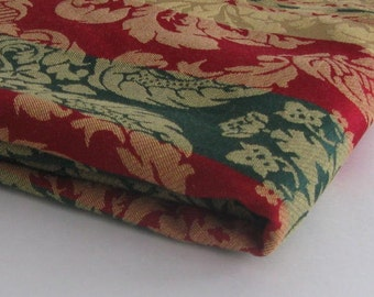 hunter green maroon and gold decorator fabric remnant MEASURES 60 INCHES by 2.5 YARDS