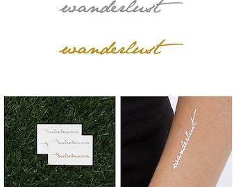 Wanderlust Metallic Gold/ Silver Temporary Tattoo (Set of 4)