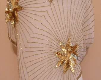 High Fashion Party Blouse In Cream With Gold Beading And Sequins With Star Pattern