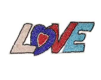 "Beaded ""LOVE"" Applique 7"""