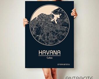 HAVANA Cuba CANVAS Map Havana Cuba Poster City Map Havana Cuba Art Print Havana Cuba