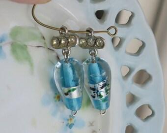 Vintage Glass Connectors Beads Loops Millefiori Lamp Work rhinestone Silver (26H)