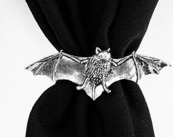 Bat Scarf Ring, English Pewter, Handmade in Great Britain, (ab)