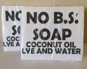 No Bullsh*t Soap, Bar Soap, Lye Soap Bars, Unscented Soap, Sensitive Skin Soap, Natural Soap, Handmade Soap