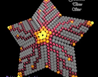 Beading Pattern/Tutorial FIREWORKS Three 3D PEYOTE STAR + Basic Instructions