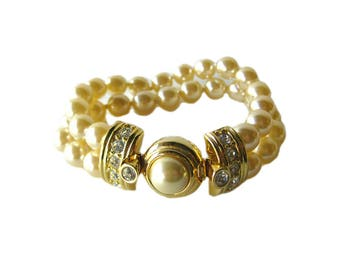 Kenneth Jay Lane Double Strand Faux Pearl Bracelet with Rhinestone Accents - Costume Jewellery
