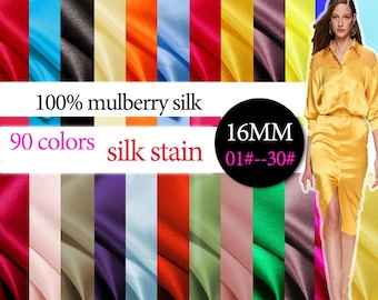 16mm 114cm width 90 solid colors 100% mulberry silk satin / charmeuse by half meter (01#--30#) DF995