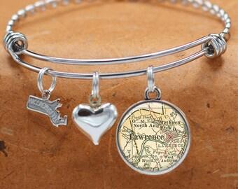 Map Bracelet Lawrence Massachusetts State of MA Bangle Cuff Bracelet Vintage Map Jewelry Stainless Steel Bracelets Map Gifts