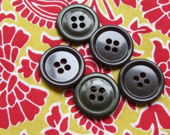 5 brown/green vintage buttons - 20 mm