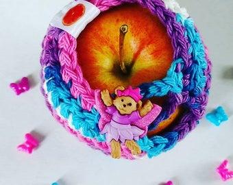Apple cozy Fruit cozy Handmade Crochet - apple cosy - Lunch bag buddy-  teddy bear