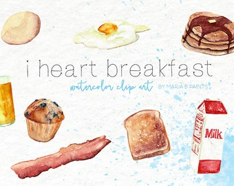 Breakfast food Watercolor Clip art Instant Download Bacon Eggs Pancakes Orange Juice Muffin Toast Milk maple Syrup Kitchen Clipart Printable