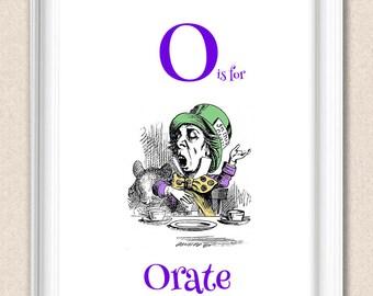Alice in Wonderland Alphabet Art Nursery Print O is for Orate A095