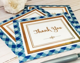 Ser of 3 Thank You Cards - Professional Thank You Card - Customer Thank You Card - Blue Plaid Card - Handmade Thank You Card