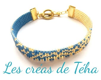 Lovely gold and teal bracelet woven with miyuki beads
