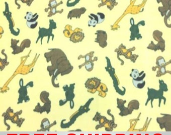 "Fleece Fabric Animals  Panda Elephant Tiger Giraffe 60"" Wide Free Shipping Style PT 664"