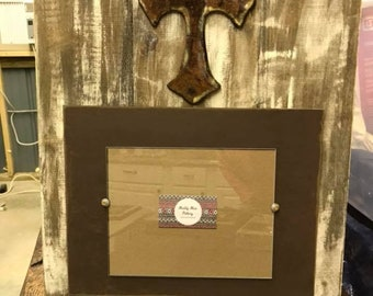 Cross 8x10 distressed Picture Frame