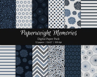 Navy Blues - Instant download - Digital Papers - patterned paper - Digital background - Commercial Use