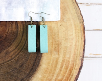 Leather Hoop Earrings, Genuine Leather, Turquoise Hoop Earrings Inspired By Joanna Gaines from Fixer Upper - Magnolia Style Earrings