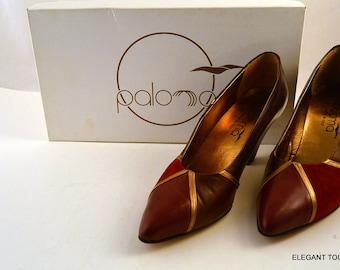 PALOMA vintage woman Santa Fe Leather NIB Burgundy Brown Point Toe Pumps Shoes 6.5 AA