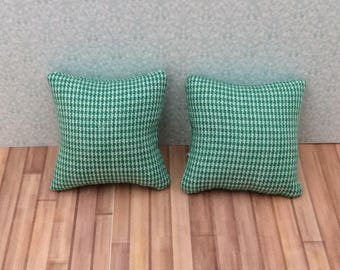 One Inch Scale Set of Green Mini Check Pillows - 4
