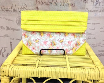 Floral Whimsical Ducks Pleated Envelope Clutch Yellow Pink Teal