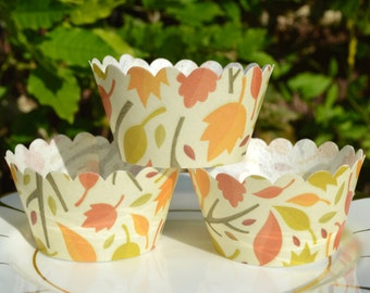 Edible Cupcake Wrappers Autumn Breeze x 12 Wafer Rice Paper Fall Leaves Rustic Fairy Cake Baking Wedding Decorations Leaf Party Favours