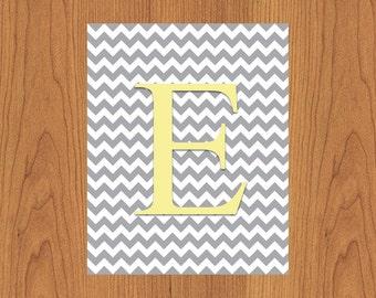 Letter E Wall Art Print Grey Yellow Nursery Decor Chevron Grey Monogram Baby Initial Nursery Decor Gender Neutral Home Decor 8x10 (27)