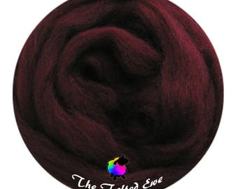 Needle Felting Wool Roving / ES33 Black Cherry Carded Wool Sliver