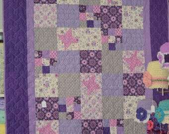 """Purple & Pink Baby Quilt or Toddler Quilt containing Owls Butterflies 45"""" x 57"""""""