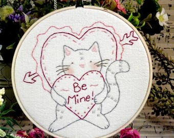 Valentine Be Mine tabby Cat embroidery PDF Pattern - heart primitive stitchery kitty hoop art kitten