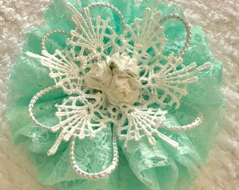 Handmade Flower, Shabby Chic, Lace Rosette, Mixed Media Embellishment, Package Topper, Head Band, Brooch, Trim, Book Cover, Green